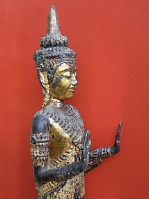 Standing bronze Buddha with both hands in abhaya mudra