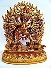 Fire gilt bronze statue of  Vajrabhairava / Yamantaka