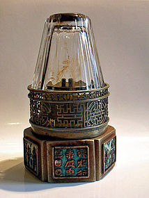 Six-sided paktong opium lamp with enamel figures