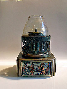 Chinese paktong opium lamp with four enameled panels