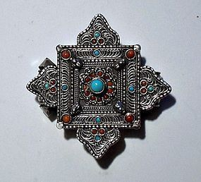 Silver gau pendant with turquoise and red coral