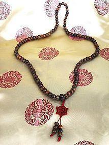 Agarwood or chenxiang 108 carved prayer beads mala