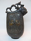 Chinese silver metal ewer with dragon, mythical lions