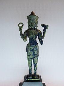 Antique Khmer bronze Vishnu statue