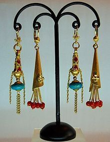 Gold earrings with red coral. turquoise and enamel