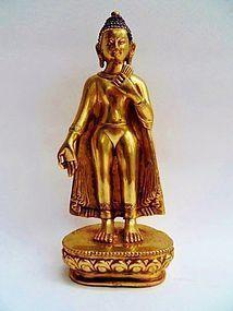 Tibetan  fire gilt bronze Buddha statue