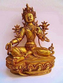 Tibetan gilt bronze Green Tara figure