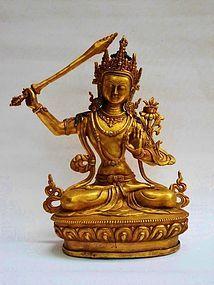 Tibetan gilt bronze statue of bodhisattva Manjushri