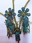 Gilt silver kingfisher feather hairpin with crickets and lotus flowers