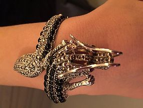 Sterling silver dragon bracelet with onyx and marcasite