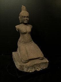 Sandstone statue of Prajnaparamita Jayarajadevi - Cambodia