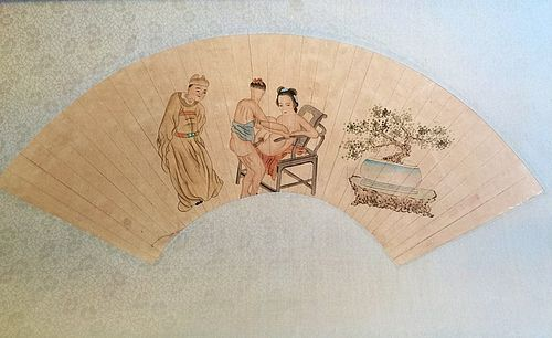 Chinese fan shape erotic painting