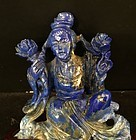 Chinese lapis lazuli carving of a lady with lotus flowers