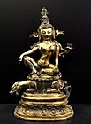Bronze statue of Avalokiteshvara on a lion - Tibet