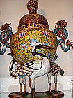 Chinese cloisonne incense burner with crane birds