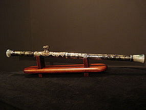 Chinese silver-niello opium pipe with jade ends