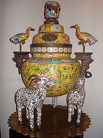Chinese cloisonne incense burner with deer and birds