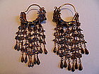 Chinese gilt silver kingfisher feather dragon earrings
