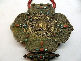 Tibetan gau with filigree work, turquoise, red coral