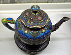 Chinese gilt silver cloisonne teapot