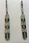 White gold earrings with emerald and diamond