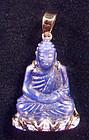 Blue sapphire Buddha pendant with gold and diamonds