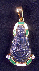 Blue sapphire Guanyin with gold, enamel, diamonds