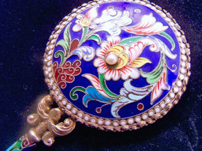 Chinese gilt silver cloisonne mirror