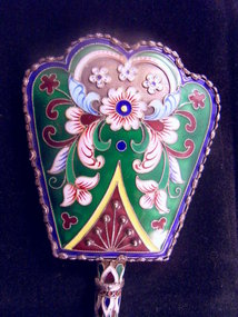 Chinese gilt silver enamel mirror
