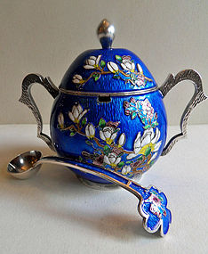 Korean silver cloisonne sugar bowl