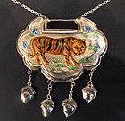 Chinese silver enamel symbolic lock (tiger)