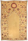 Antique Uzbek Susani Prayer Arch Embroidery, c. 1900.