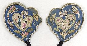 Old Chinese Embroidered Silk Ear Muffs, c. 1930.