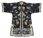 Antique Chinese Embroidered Silk Robe, late Qing.