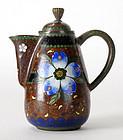 Antique Japanese Cloisonne Enamel Teapot, Meiji.