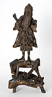 Chinese Root Wood Figure of Fisherman, 19th C.