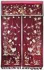 Old Large Chinese Embroidered Silk Curtain.