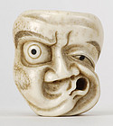 Japanese Carved Stag Antler Netsuke of Hare-Men Mask.