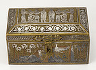 Antique Inlaid Cairoware Brass Casket, Egypt, 19th C.