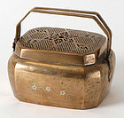 Chinese Silver Inlaid Copper Hand Warmer, Qing.