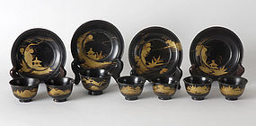 Assorted Black Lacquer Bowls and Saucers, 17th / 18th C