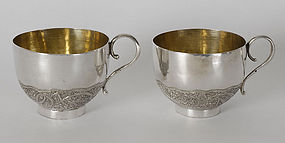 Two Persian Silver Cups with Paisley, c. 1900.