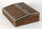 Anglo Indian Carved Lap Desk with Sadeli, late 19th C.
