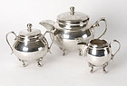 Old Elegant Egyptian Silver Tea Set, c. 1950.
