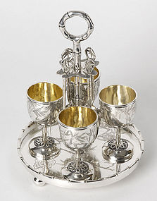 Rare Chinese Export Silver Egg Cruet Set by Tuck Chang.