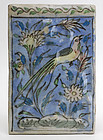 19th C. Persian Molded Pottery Tile with Bird.
