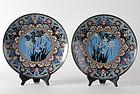 A Pair Japanese Cloisonne Enamel Plates, Meiji.