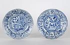 Two Hatcher Shipwreck Kraak Porcelain Dishes, Ming.