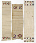 Lot of 3 Embroidered Sashes, Ottoman or Crimean Tatar.