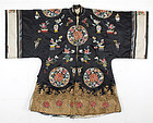 Chinese Lady's Informal Silk Robe w. Roundels, 19th C.